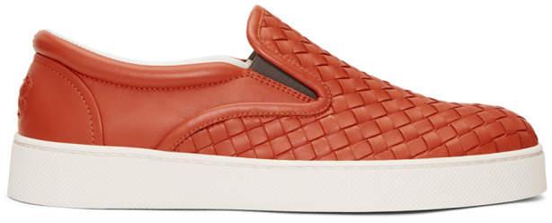 Bottega Veneta Red Intrecciato Dodger Slip-On Sneakers
