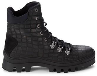 Karl Lagerfeld Paris Croc-Embossed Leather Combat Boots