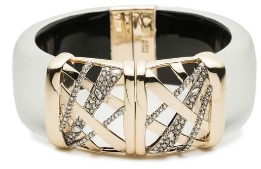 Alexis Bittar Crystal Encrusted Plaid Hinge Bracelet