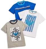 Armani Junior Boys' Logo Tees, Set of 3 - Little Kid, Big Kid