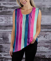 Beyond This Plane Women's Tunics PNK - Fuchsia & Blue Stripe Pleat-Accent Sleeveless Tunic - Women & Plus