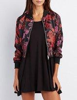 Charlotte Russe Satin Floral Bomber Jacket