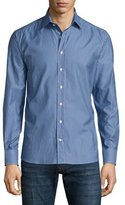 Etro Micro-Pattern Long-Sleeve Sport Shirt, Blue