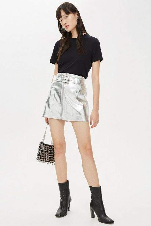 Topshop Womens Petite Silver Pu Skirt