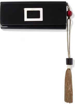 Roger Vivier Fringe-trimmed Buckle-embellished Acrylic Clutch