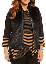 Multiples Plus Banded Collar Faux Leather-Trim Front-Zip Faux-Fur Vest