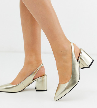 Asos Design DESIGN Wide Fit Samson slingback mid heels in gold