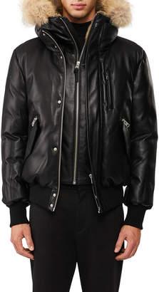 Mackage Glen Leather Down Bomber Jacket with Fur Trim