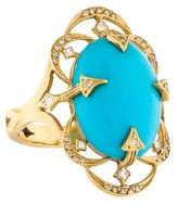 Cathy Waterman 22K Turquoise & Diamond Cocktail Ring