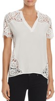 Sandro Maryline Lace-Inset Silk Top