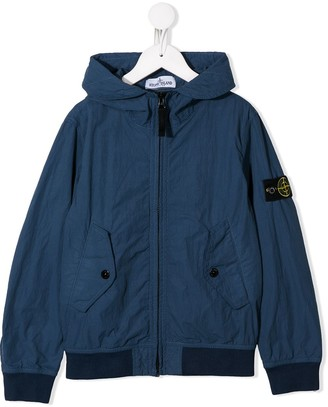 Stone Island Junior Logo Hooded Bomber Jacket