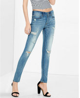 Express faded distressed mid rise jean legging