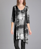 Aster Black & White Sidetail Dress - Plus Too