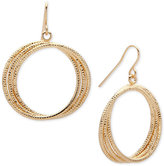 Nine West Gold-Tone Multi-Row Drop Hoop Earrings