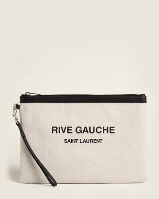 Saint Laurent Rive Gauche Zip Linen Pouch