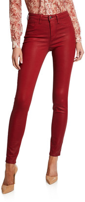 L'Agence Marguerite Coated Cotton Denim High-Rise Skinny Jeans