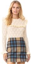 TSE x Claudia Schiffer Ruffle Long Sleeve Pullover