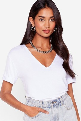 Nasty Gal Womens Plunging Scoop Neckline T-Shirt - White