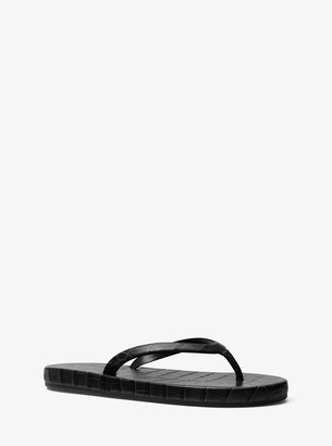 Michael Kors Dakota Embossed Leather Flip-Flop