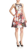 Adrianna Papell Floral Print Fit-and-Flare Dress