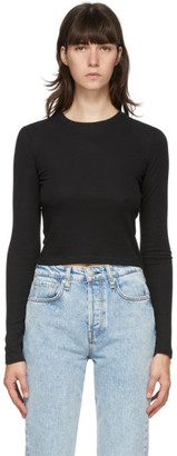 Rag & Bone Black The Rib Cropped Long Sleeve T-Shirt
