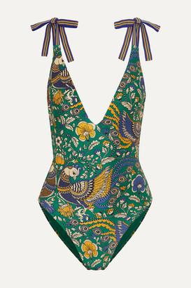 Zimmermann Edie Printed Swimsuit - Dark green