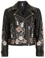 Petite embroidered leather jacket