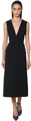Victoria Beckham Crepe Cross Back Midi Dress