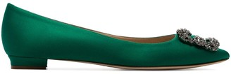 Manolo Blahnik jade green Hangisi brooch embellished pumps