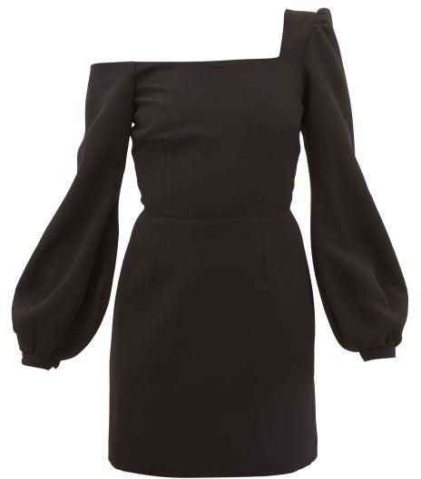 Racil Debbie One-shoulder Balloon-sleeve Crepe Dress - Black
