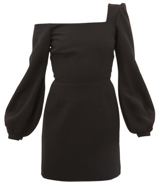 Racil Debbie One-shoulder Balloon-sleeve Crepe Dress - Black