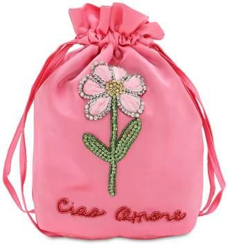Giada Benincasa LADY BUG FLOWER EMBELLISHED CLUTCH