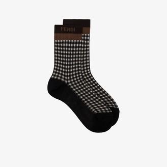 Fendi Jacquard Gingham-Print Socks