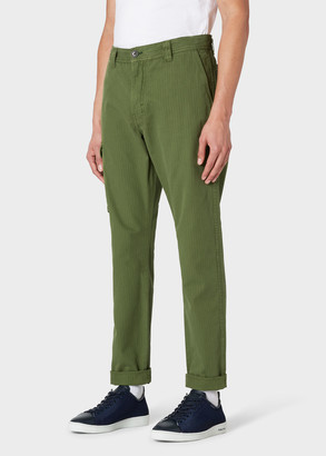 Paul Smith Men's Khaki Stripe Cotton-Stretch Cargo Pants