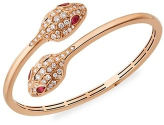 Bvlgari Serpenti Seduttori 18K Rose Gold, Rubelite & Diamond 2-Head Bangle Bracelet