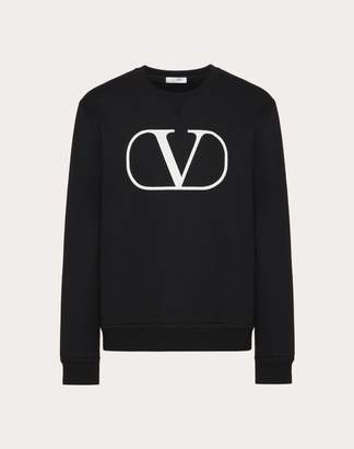 Valentino Crew-neck Sweatshirt With Craquelure Vlogo Print Man Black XL