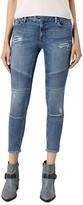 AllSaints Distressed Moto Skinny Ankle Jeans in Indigo Blue