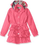Pink Platinum Platinum Big Girls' 3 Tiered Ruffled Trench with Satin Lining