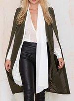 Diffyou Women's Unique Open Front Pocket Cloak Trench Coat