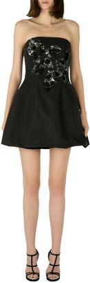 Marchesa Black Cotton Silk Floral Sequined Applique Strapless Mini Dress S