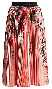 Givenchy Women's Floral Pleated Midi Skirt