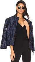 KENDALL + KYLIE Lace Bomber Jacket in Navy. - size L (also in S,XS)