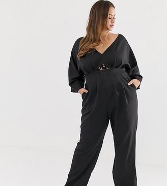 Outrageous Fortune Plus Kimono Top jumpsuit in black