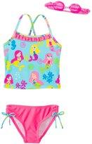 Jump N Splash Girls' Mermaid Party TwoPiece Swimsuit w/ Free Goggles (4-6X) - 8143030