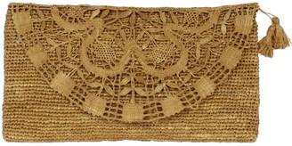 Valentina Brown Handmade Lace Raffia Clutch Bag