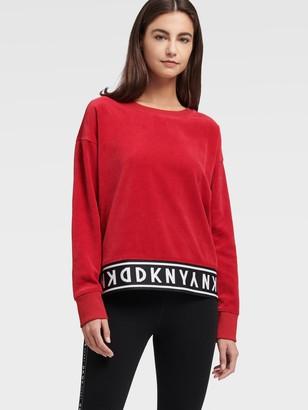 DKNY Logo Rib Velour Pullover