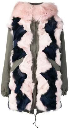 Mr & Mrs Italy colour-block fur parka coat