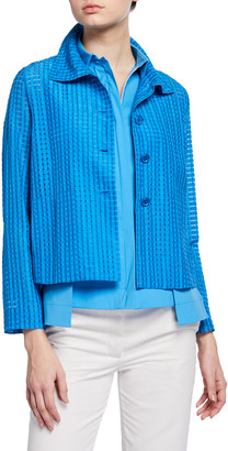 Akris Silk Flyaway-Collar Jacket