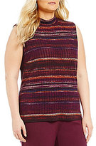 Allison Daley Plus Mock Neck Sleeveless Stripe Knit Top