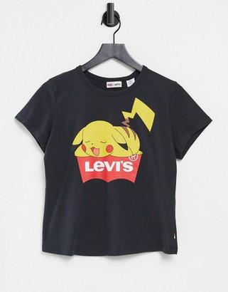Levi's X Pokemon sleeping Pikachu tee in black